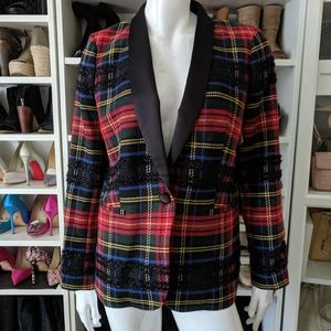 J. Crew Red Black Parke Plaid Shawl Collar Blazer